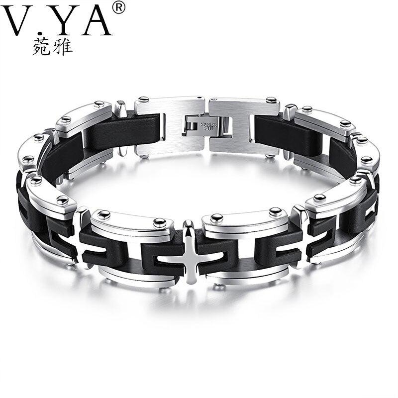 3f0418f84a6f Pulseras cruzadas de acero inoxidable accesorios de cadena de eslabones  para hombre 21 CM pulsera ...