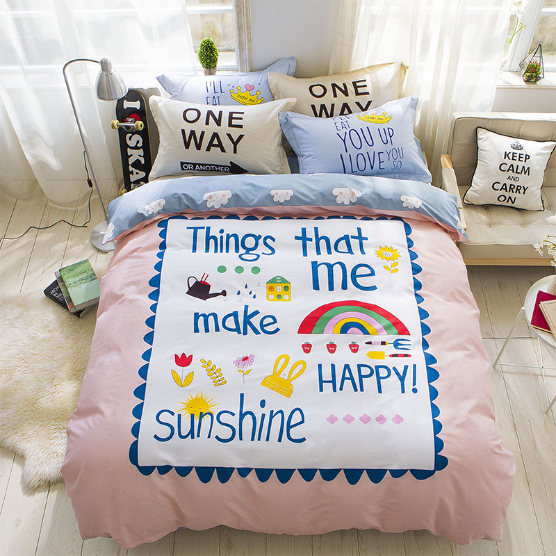 yeeKin Cute Baby Draw Happy Sunshine Kids Bed Cover,Queen Size 100% Cotton baby drawing Rainbow sunshine Child Bed Linen