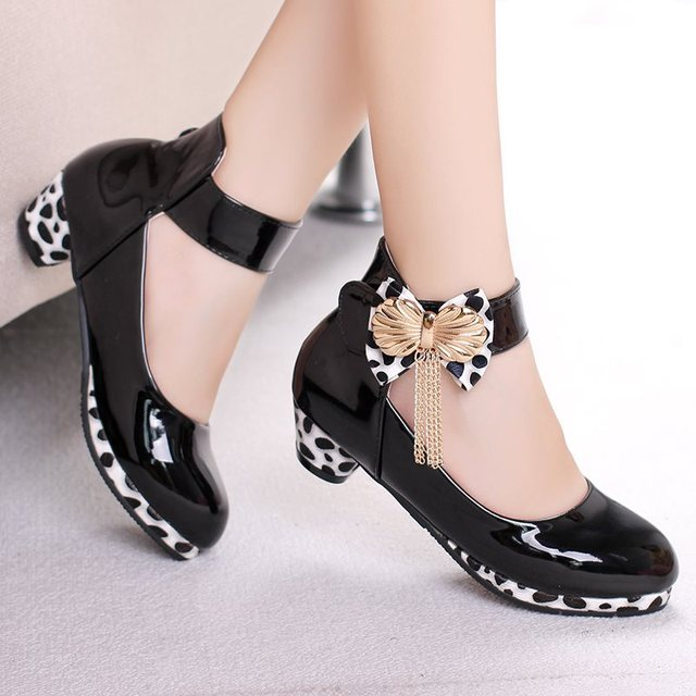 New Children Princess High Heel for Girls Leather Shoes Fashion Wild Purple Dress Butterfly Shoes Kids Party Wedding Dance Shoes