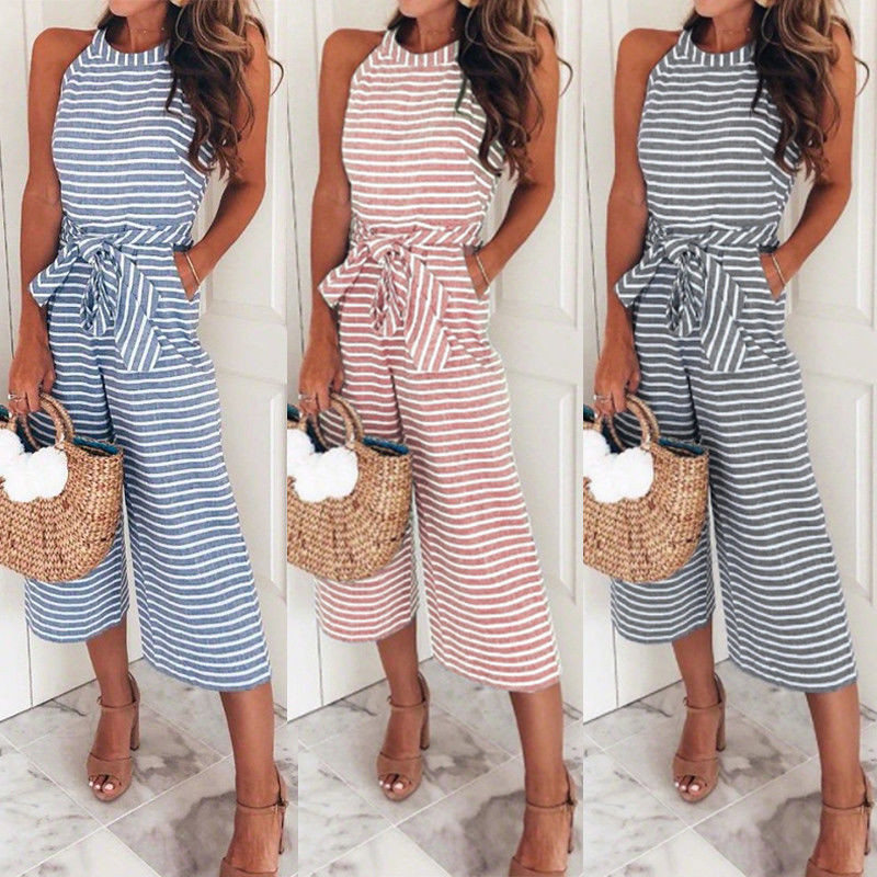 Women Sleeveless Striped Jumpsuit Summer Casual Sleeveless Clubwear Wide Leg Pants Outfit Jumpsuit Feminino 2018 Women Clothing Excellent Quality Jumpsuits