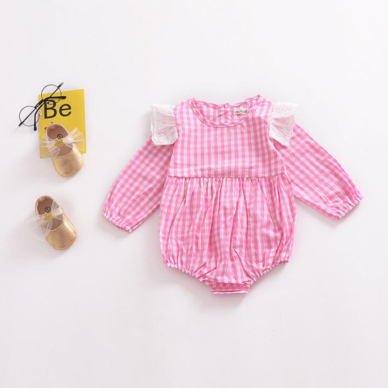 8753a30d673 Baby Girl Clothes Fashion Spring Autumn Newborn Infant Toddler Children  Clothes Pink Plaid Romper Cute Lace Long Sleeve Jumpsuit