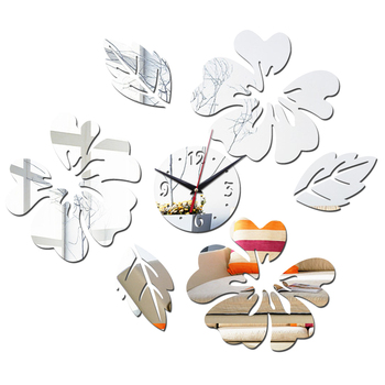 Top Sale DIY Stickers 3D Mirror Wall Clocks Furniture Living Room Acrylic diy flower sticker  Home Decoration 1