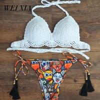 WEIXIA 2018 RUUHEE Swimwear Women Swimsuit Bathing Suit Bikini Set Z003 Thong Bottom Vintage Print