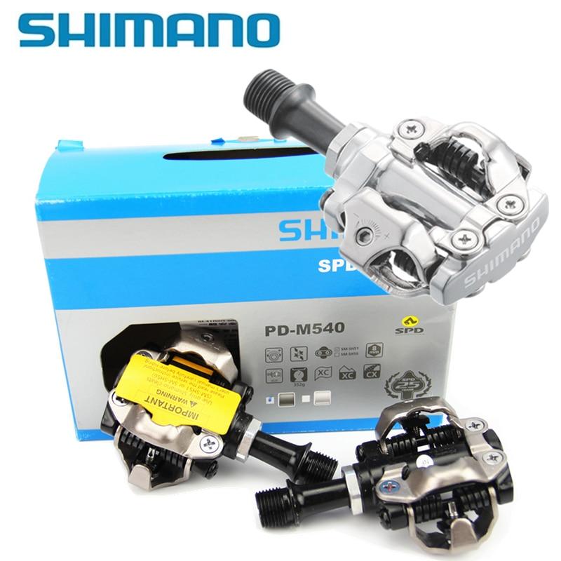 Shimano m540 m540クローム トニーモリー&アルミコンパクトmtbバイク自転車サイクリングセルフロックペダルクリップレスspd sm sh51クリート  グループ上の スポーツ & エンターテイメント からの 自転車のペダル の中 1