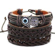 New 1 Set 3PCS-4PCS Leather Bracelet Men's Fashion Bead Charm Bracelet Women's Punk Retro Men's Bracelet Style Jewelry(China)