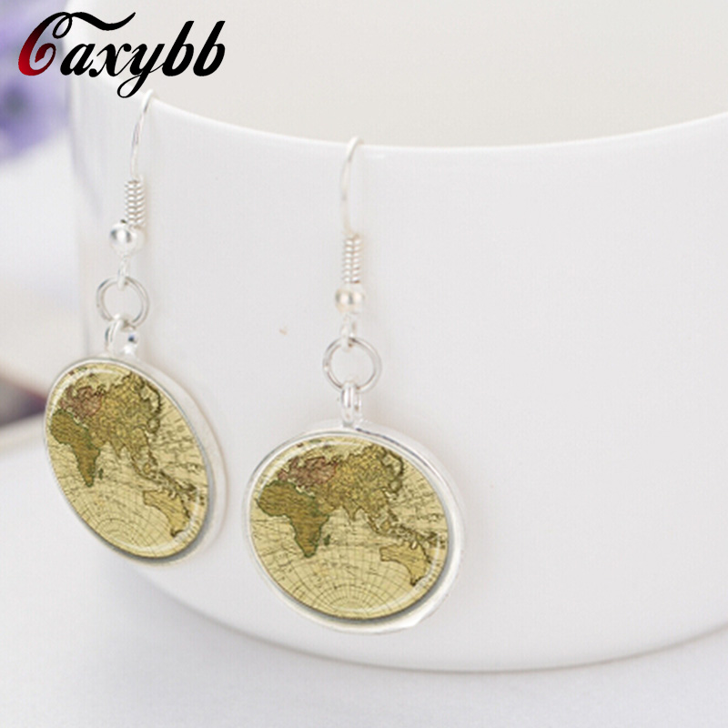 New world map pendant necklace earring charms planet round dome old new world map pendant necklace earring charms planet round dome old necklaces vintage pendants jewelry set in jewelry sets from jewelry accessories on gumiabroncs Gallery