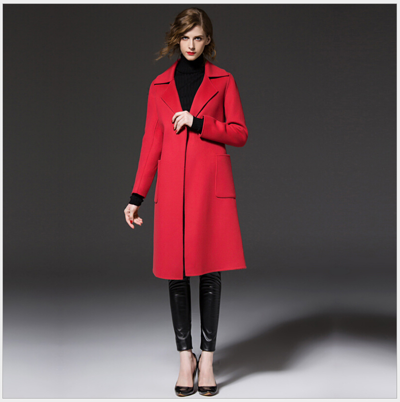 Latest European Style Women Winter Coat High end Cashmere Woolen Cloth Coat Women Slim Big yards