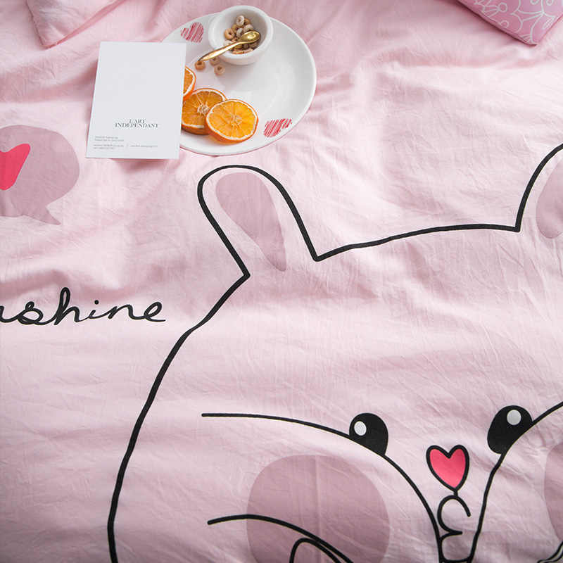 ParkShin różowy dziewczyna Cartoon królik pościel zestaw kołdra okładka podwójne Queen King płaski arkusz wystrój tekstylia domowe narzuta na łóżko pościel