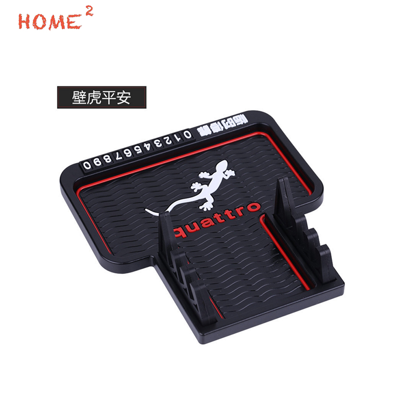 Car Styling Phone Number Parking Card Anti-Slip Pad PVC Sticker Auto Non-slip Mat for Quattro Logo for Audi Quattro s1 Rs4 A3 car interior accessories rubber auto luminous gate door pad anti slip cup holder mat cover cushion for 2015 honda odyssey