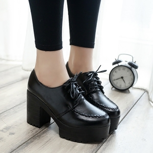 Image 2 - 2019 new thick with high heels thick sole shoes British womens shoes autumn laces students round head ladies casual women shoes