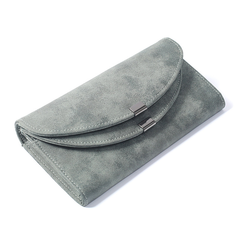 Women Fashion Wallet Matte Leather Long Purse New Korean Envelope Multi-card Double Cover Wallets Money Bag Card Holder