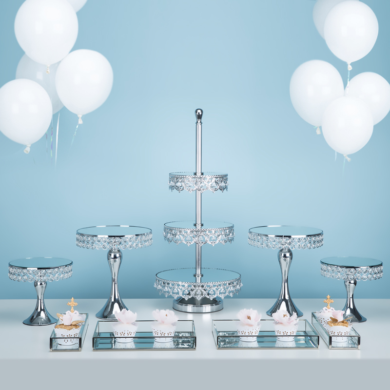 Gorgeous crystal sliver cupcake stand mirror 2 3 tiers Instagram for wedding party dessert cake table