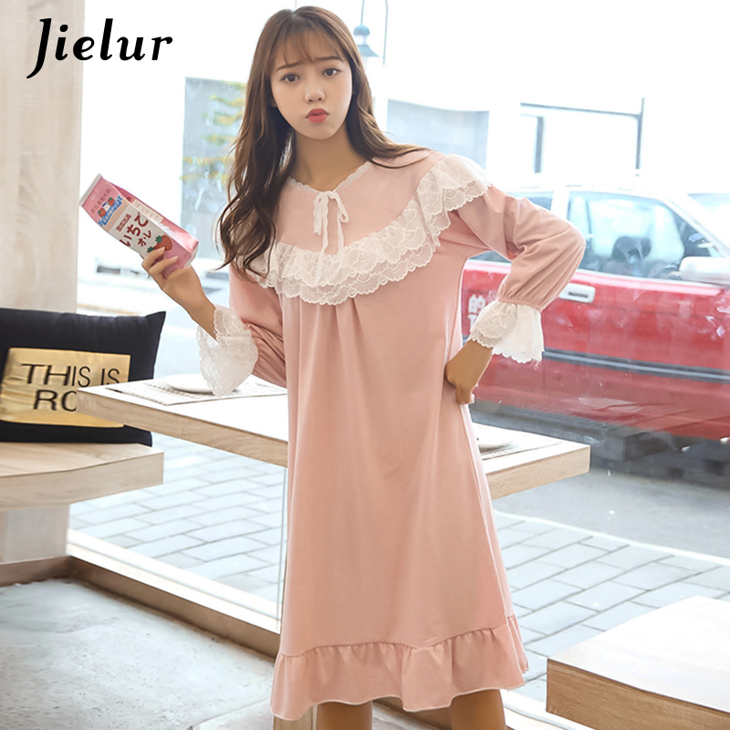 Jielur   Nightgowns   Women Long Sleeve Loose   Sleepshirts   Lace Patchwork Autumn Winter Pink Nightdress Sweet Cute Vintage Sleepwears