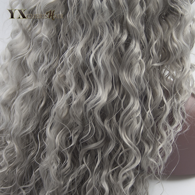 YXCHERISHAIR 24Long Synthetic Curly Grey Lace Front Wigs for Women Black White African American Lace Wig Cosplay Party Bob Wigs