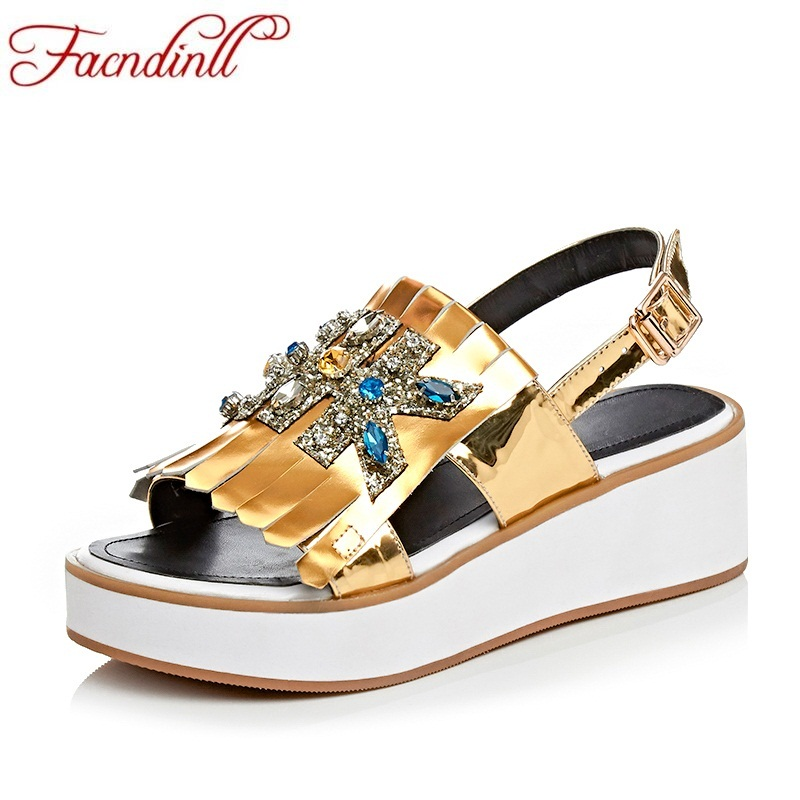 FACNDINLL 2018 new fashion summer genuine leather women sandals rhinestone wedges high heels peep toe shoes casual date shoes facndinll new genuine leather summer