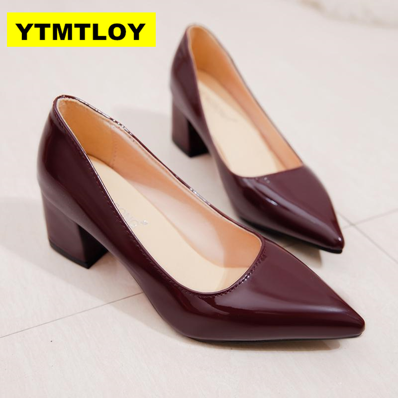 Size 33-43  2019 Women Pumps Elegant Shoes Slip On Square High Heels Pointed Toe Shallow Spring Autumn Wedding Women Shoes