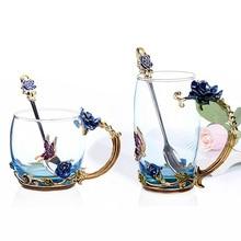 Blue Rose Enamel Crystal Cup Flower Tea Glass High-grade Butterfly Water Mug Handle Single mug gift