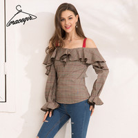 Gracegirl 2017 Autumn Women Blouse Shirt Series Winter Plaid Strap Ruffles Off Shoulder Sexy Blasas Lace