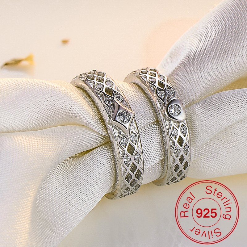Custom Western Sterling Silver His And Her Heart Wedding Band Engagement Promise Ring Set For