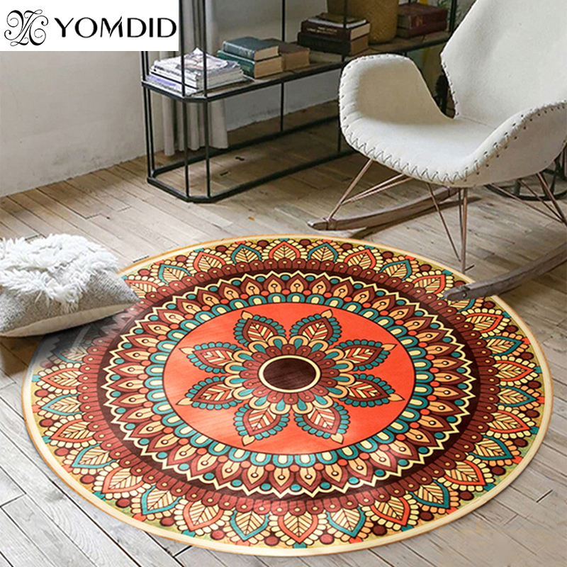 Bohemian Mandala Round Carpets india style mat carpet for living room Bedroom Home Decor Anti-slip Kid Rug Baby Crawling Blanket