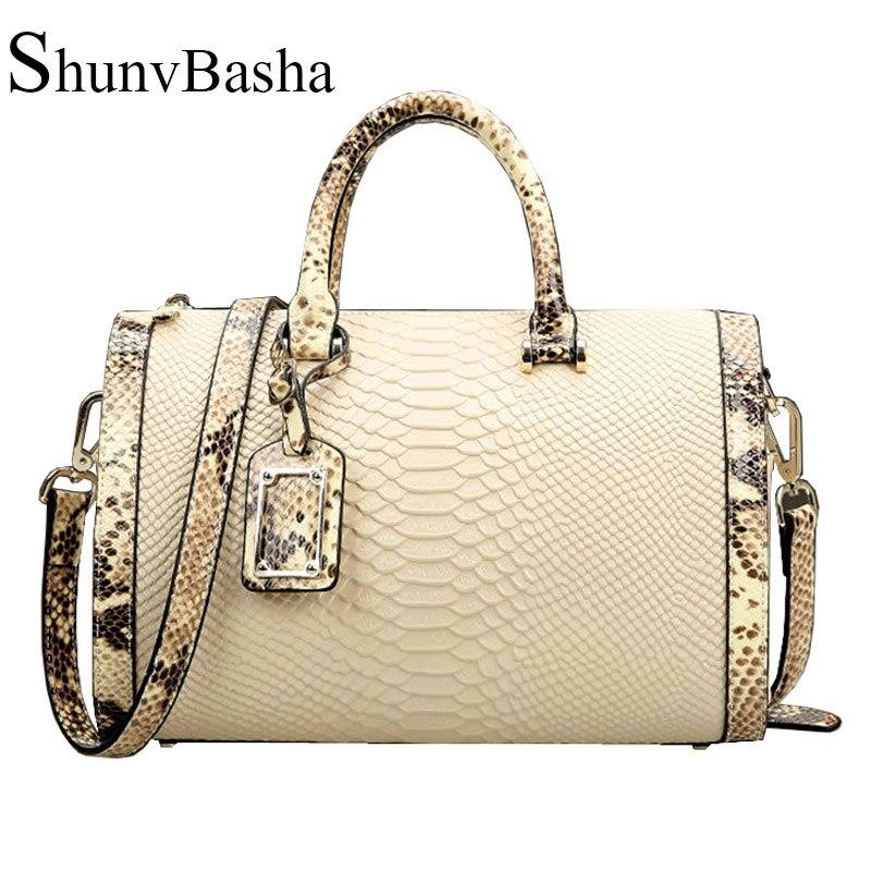 100% Genuine Leather Bag 2016 Women Messenger Bags Cowhide Leather handbag Snakeskin Pattern Tote Vintage Shoulder Bag