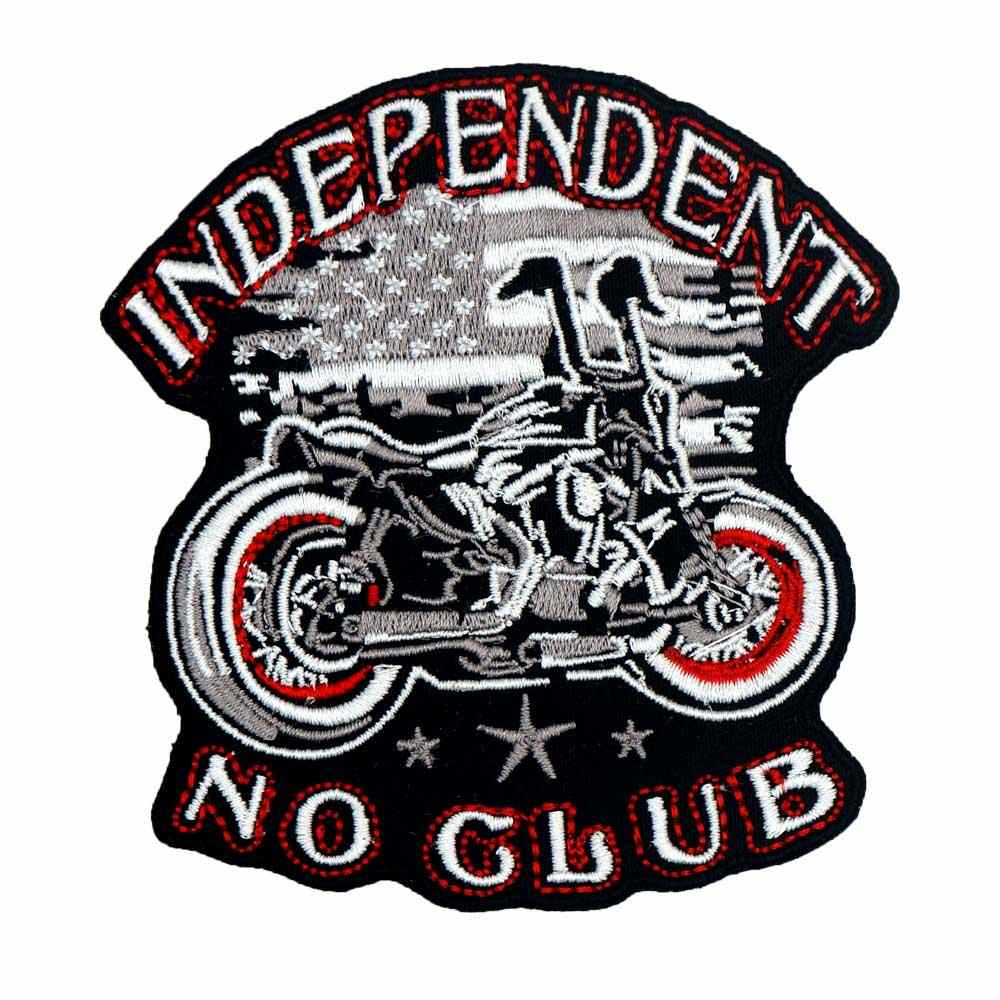 INDEPENDENT NO CLUB MOTORCYCLE Embroidered punk biker Patches Clothes Stickers Apparel Accessories Badge 3PCS/LOT