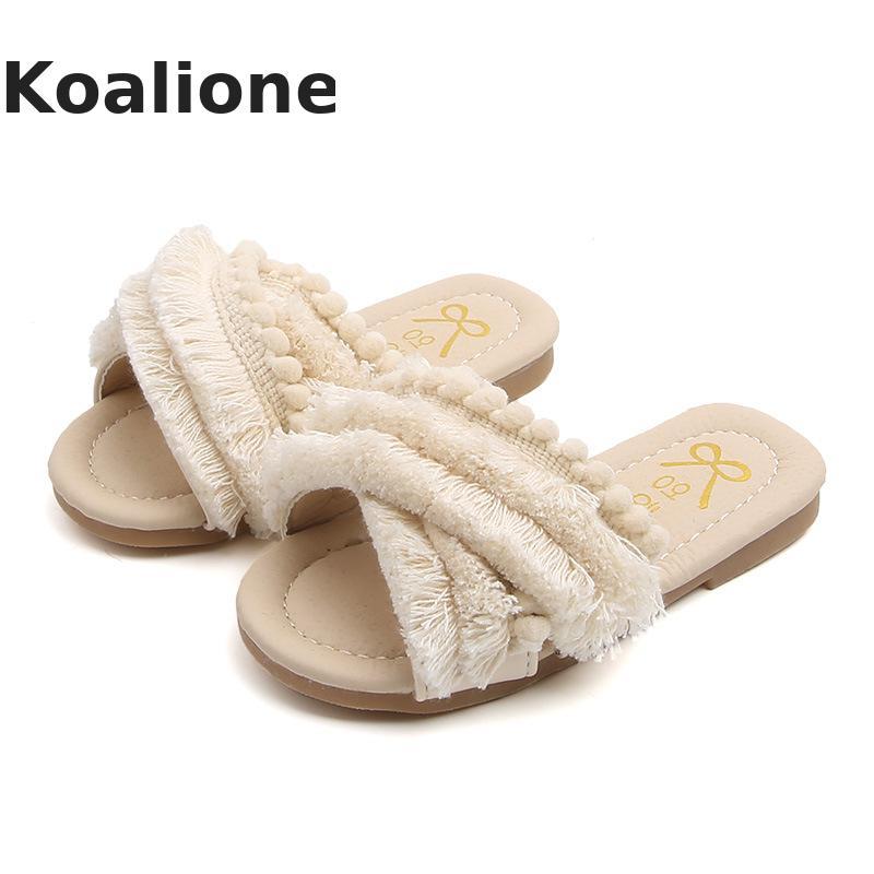 Kids Shoes For Girls Slippers Korean Children Beach Sandal Outdoor Fashion Baby Girl Toddler Tassel House Home Summer Flip Flops