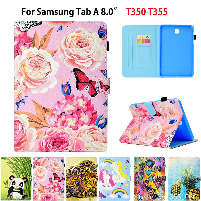 SM-T350 Case For Samsung Galaxy Tab A 8.0 Inch T350 T355 P350 P355 Cover Smart Case Flower Butterfly Funda Tablet Stand Capa
