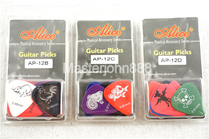 12pcs Alice Twelve Constellations/Zodiac Monster Pattern Celluloid Electric/Acoustic Guitar Picks 0.46/0.71/0.81mm