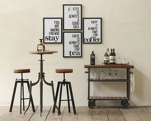 Upscale and elegant wrought iron tables and chairs Cafe Bar circular wood furniture pict ...