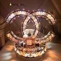 НЕД LED кристалл настольная лампа спальня ночники современный минималистский гостиной освещения Нержавеющей стали декоративные настольные лампы
