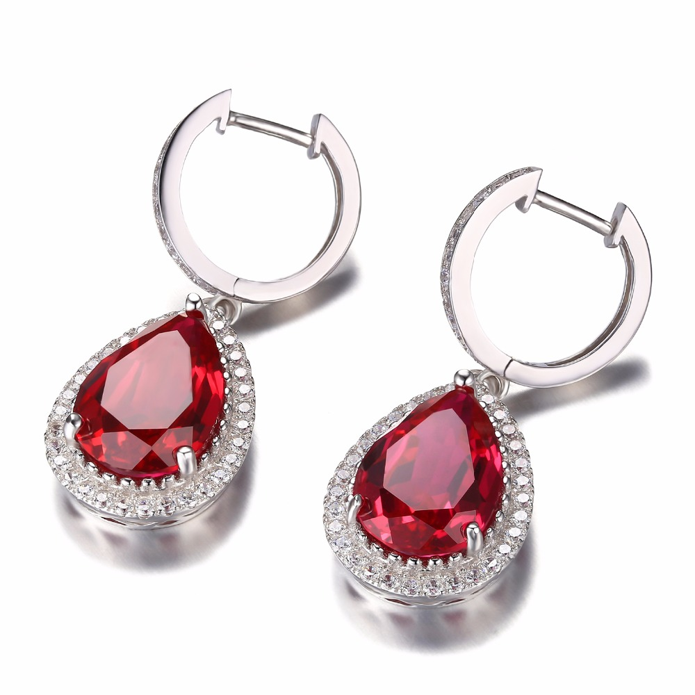 Jewelrypalace Luxury Pear Cut Created Gemstone Dangle Earrings Solid 925 Sterling Silver NaFVHth