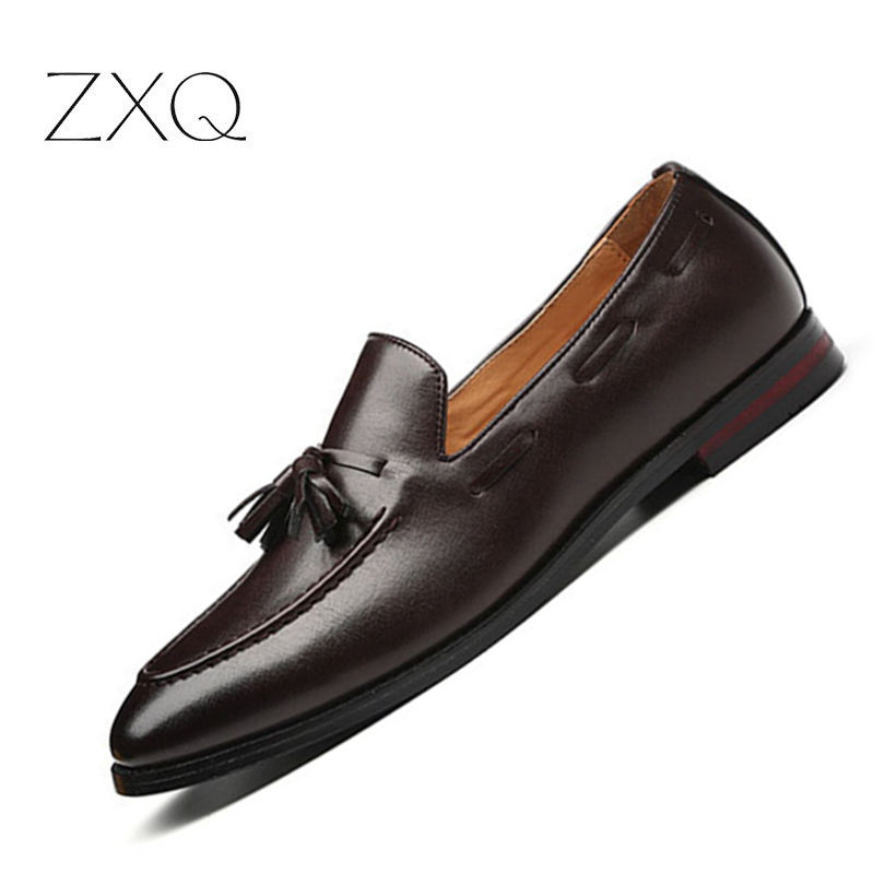 Plus Size 38-48 Men Formal Loafers Vintage Design Comfortable Casual Suit Party Dress Shoes Slip On Tassel Driving Flats plus size textured pocket design dress page 5