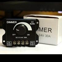Balck 6 pçs/lote DC 12 V 24 V 30A LED Dimmer Switch Brilho Controlador para cor única led tira lâmpada luz