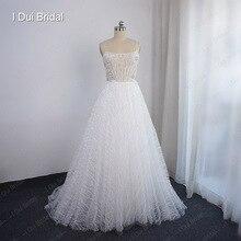 فستان زفاف تل لامع بحزام سباغيتي مزين بالكريستال مطرز بالخرز فستان زفاف طراز جديد
