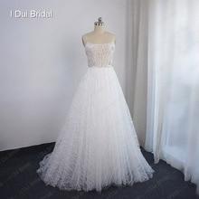 Sparkle Tulle ślubne ramiączko spaghetti do sukienki kryształowe zroszony sąd pociąg suknia ślubna w nowym stylu