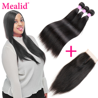 Mealid Brazilian Straight Hair Weave Bundles With Closure Non Remy Human Hair 3 Bundles With