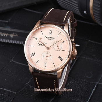 42mm parnis rose golden dial power reserve ST1780  date automatic mens watch