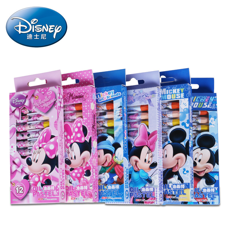 Disney Cartoon Mickey Minnie Boxed Crayon 12 Different Colors Children's Safety Painting Supplies