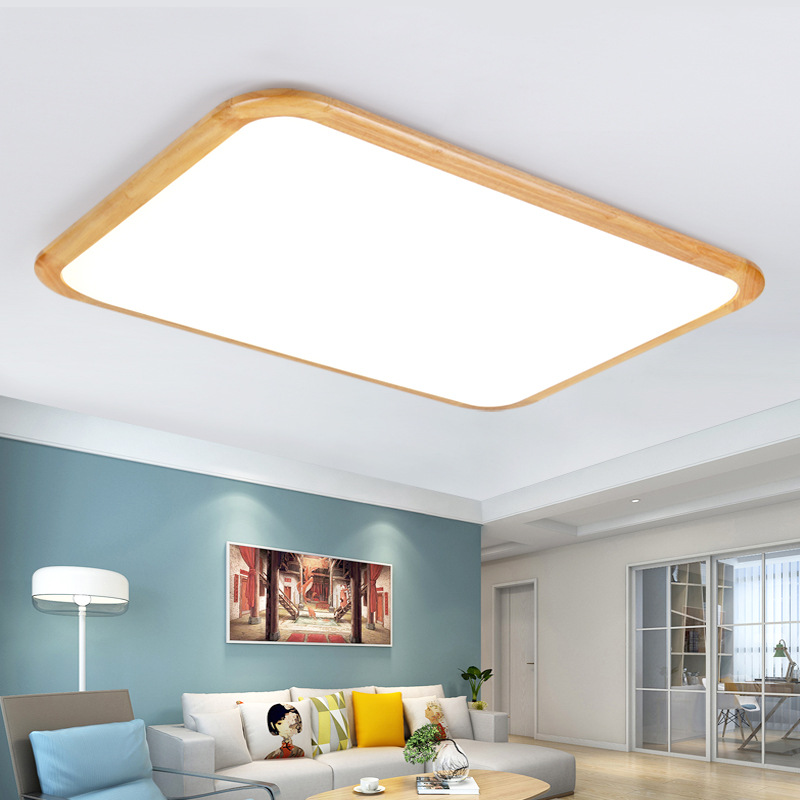 все цены на Japan Style Nordic Solid Wood LED Ceiling Light Square Rectangular Modern Simple Ceiling Lamp for Living Room Bedroom Study онлайн