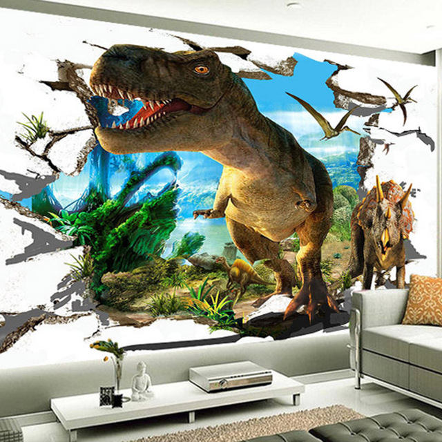 3D Wall Mural Wallpaper Custom Stereo Cartoon Broken Wall Dinosaur