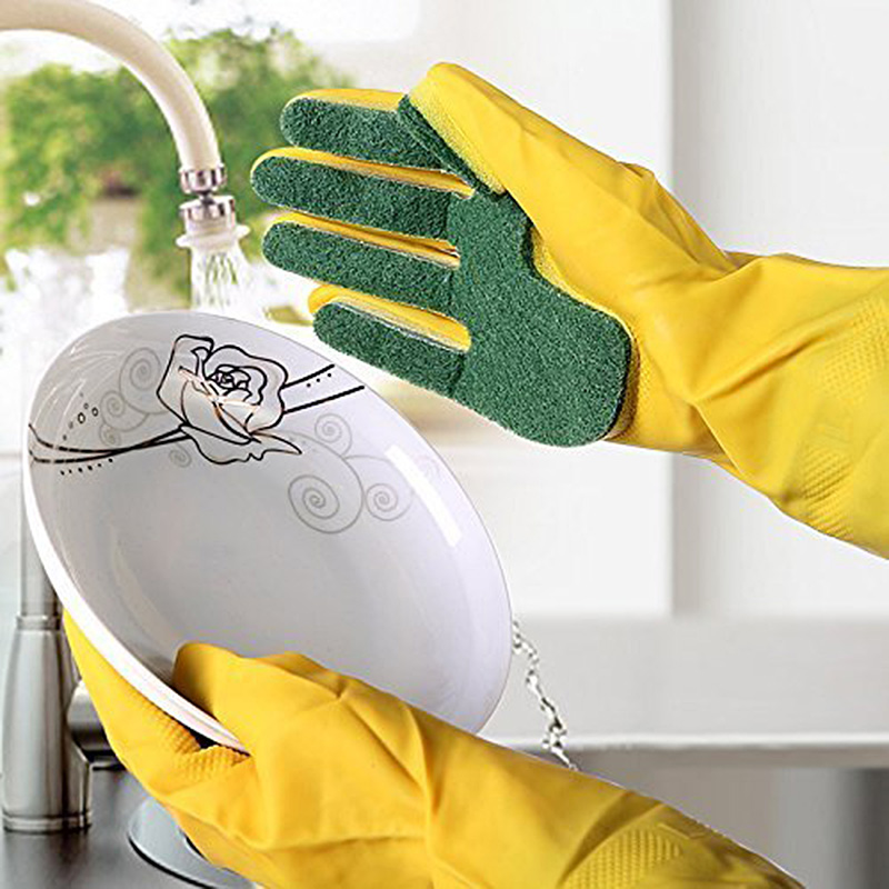 Nouvelle cuisine nettoyage éponge Latex-fait gants réutilisable doigts gants cuisine vaisselle outils Guante de limpieza chaud
