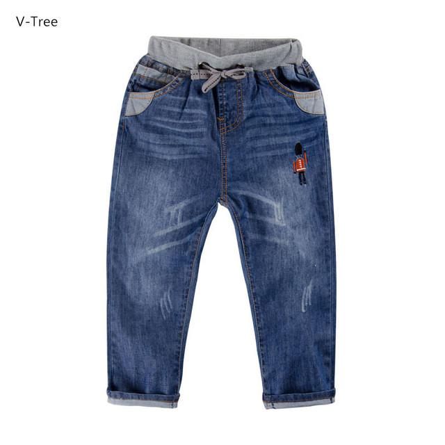 Meninos & Meninas de calças de Ganga Calças Grossas de Algodão Macio Para O Bebê Crianças Crianças Casual Calças de Cintura Elástica Denim Roupas de Bebe