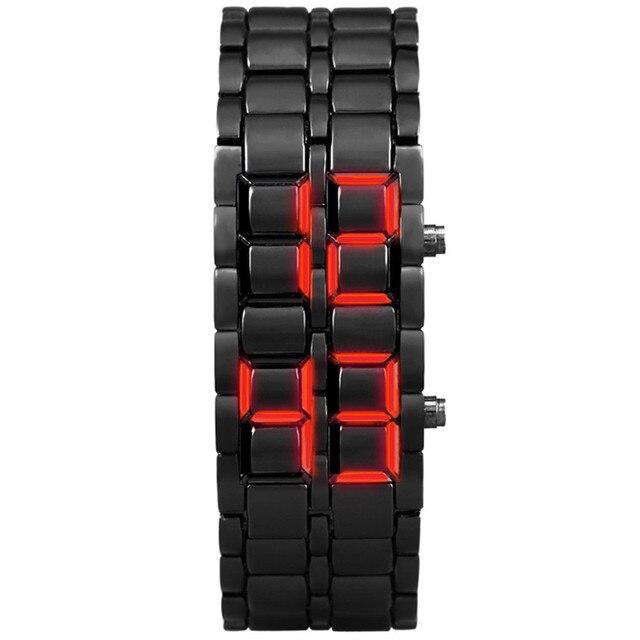 Men Women Watch New Iron Samurai Metal LAVA LED Hour Bracelet Sports Watches Man Watch 2019 Digital Relogio Sport Masculino