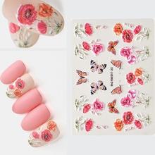 1pc 3D Acrylic Engraved Flower Nail Sticker Rose Maple Leaf Dessert Water Decals Fashion Empaistic Slide
