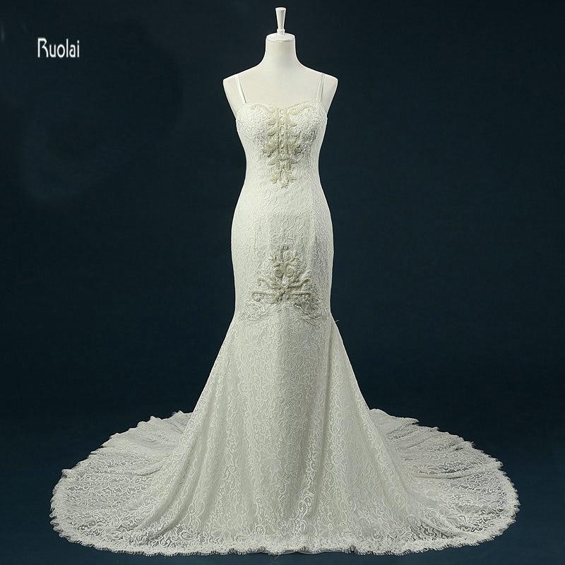 Csipke sellő esküvői ruha 2018 hosszú vonat gyöngyök édesem spagetti pánt strand esküvői ruha menyasszonyi ruha vestido de noiva