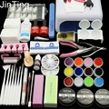 36W LAMP 12 Color UV GEL + clear Nail brushes False Finger Cutter clearnser plus Nail Art Tool Kit Sets