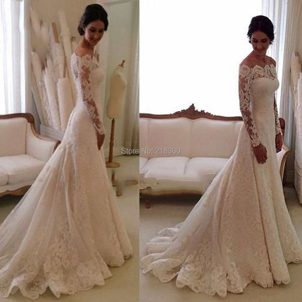 Trumpet Wedding Gowns With Sleeves: Aliexpress.com : Buy Vintage Off The Shoulder Lace Wedding