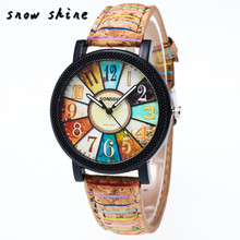 snowshine #10xin Harajuku Graffiti Pattern Leather Band Analog Quartz Vogue Wrist Watches  free shipping