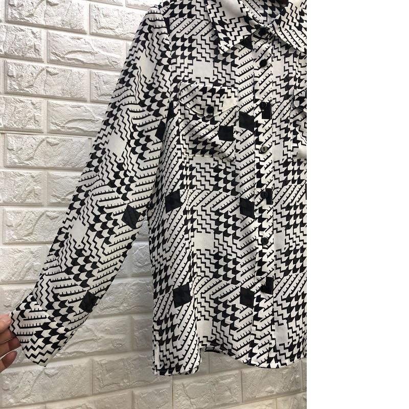 Poche Chemisier Col Buste Shirts De Imprimer 100 Turn Nouveau Chic Mode Soie Casual 2019 Femme down Été Shirt Patchwork Style Printemps TOwqda